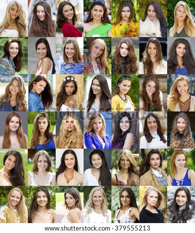 Collection different caucasian happy women