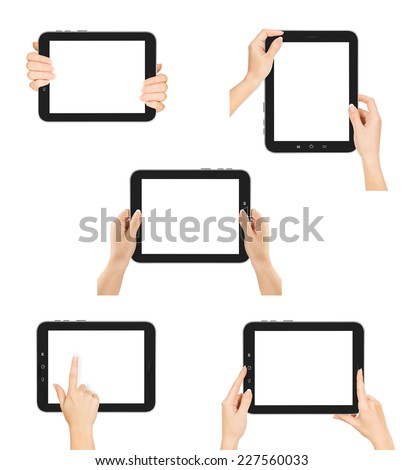 collection female hands using tablet pc with white screen, isolated