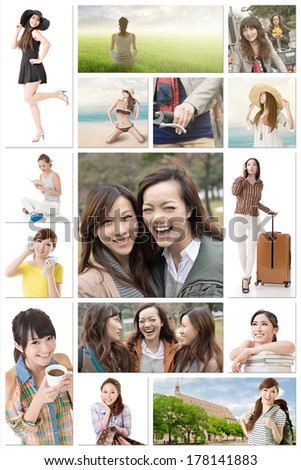 Collection of Asian women lifestyle images about friendship, travel, health care, shopping, studying, peace and hobby.
