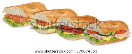 Collection of baguettes with salami ham, cheese, salmon fish tomatoes and lettuce in a row isolated on a white background