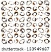 Collection of burnt holes in a piece of paper isolated on white background - stock photo