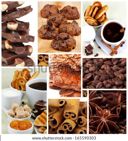 Collection of Coffee Cups, Chocolate, Pastry and Cookies, Coffee Beans and Spices closeup