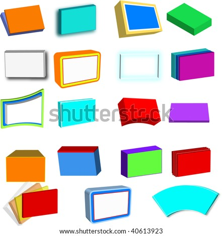 Collection of 3D boxes, screens, boards and files, in various colors