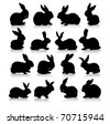 collection of different rabbit silhouettes - stock vector