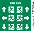 collection of Fire Exit Symbol and sign for safety with Text - stock photo
