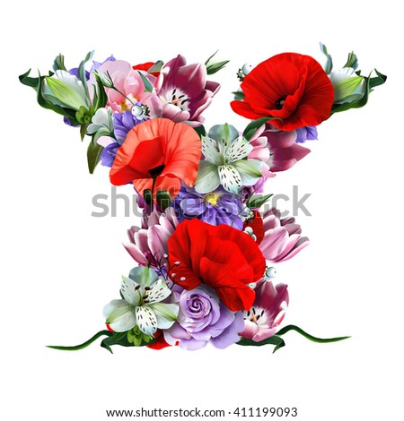 collection of floral letters. Letter Y
