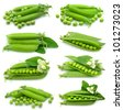 Collection of fresh green peas on white - stock photo