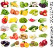 collection of fruits and vegetables on white background - stock photo