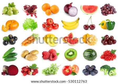 Collection of fruits and vegetables on white background. Fresh food. Healthy