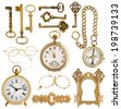 collection of golden antique accessories. vintage keys, clock, compass, glasses, pocket watch, frame isolated on white background - stock