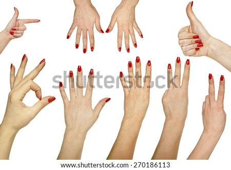 Collection of hand gestures isolated on white background