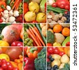 Collection of healthy fruits and vegetables - stock photo