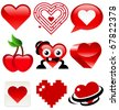 Collection of heart designs - stock vector