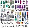 Collection of icons of clothes for the Internet of sites - stock photo
