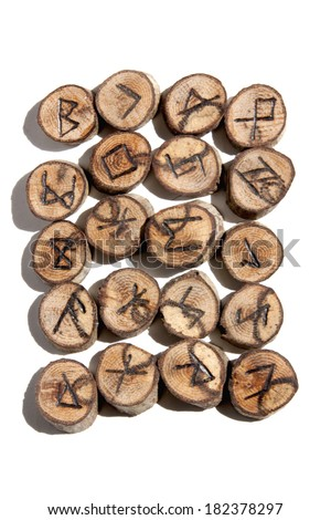 of ideographic runes depicting celtic/viking symbols - stock photo