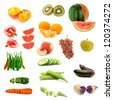 collection of isolated fruits and vegetables - stock photo