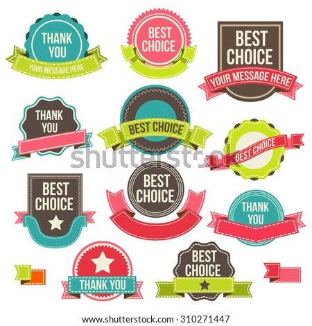 Collection of labels and ribbons. design elements