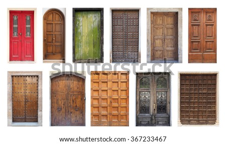 Collection of Large European Antique Doors Isolated on White