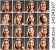 collection of little girl portraits with different expressions - stock photo