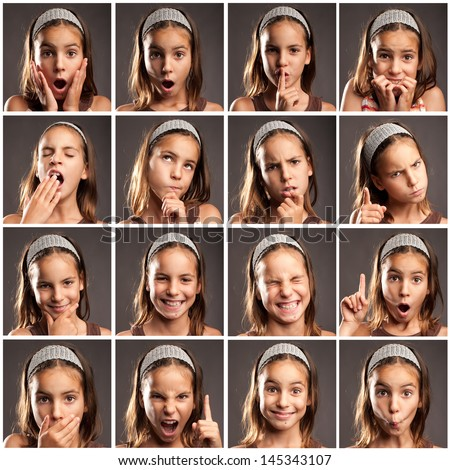 collection of little girl portraits with different expressions