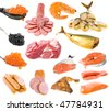collection of meat and fish products  isolated on white background - stock photo