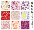 Collection of nine seamless patterns. Raster version. - stock photo