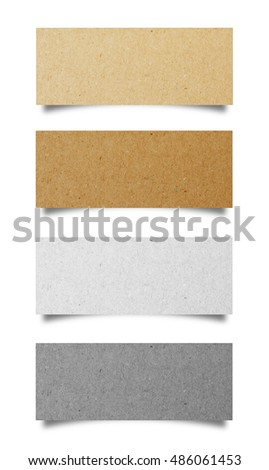 Collection of note paper isolated on white background