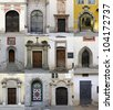 Collection of 12 old doors coming from Salzburg, Austria. - stock photo