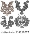 collection of ornamental floral neckline embroidery fashion. Raster version - stock vector
