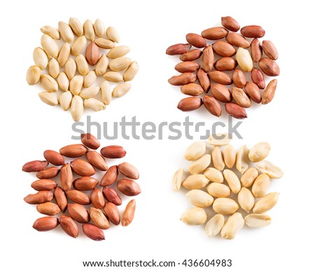 Collection of peeled peanuts on a white background