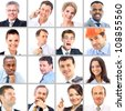 Collection of portraits of business people - stock photo