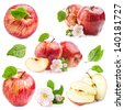 Collection of Red Apples with flowers isolated on white background - stock photo