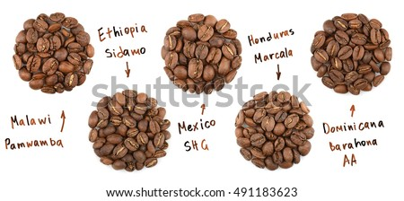 Collection of roasted coffee beans. name coffees