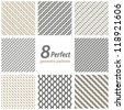 Collection of 8 seamless geometric patterns. - stock photo