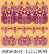 collection of seamless ornamental floral stripes. Raster version - stock photo
