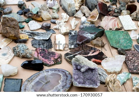 collection of semiprecious stones and minerals