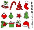 Collection of simple traditional Christmas icons. Raster version. - stock vector