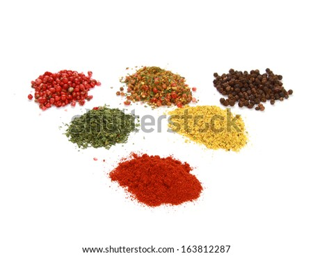 Collection of spices isolated on a white background
