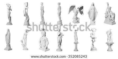 Collection of statues isolated on white background