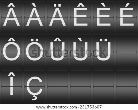 Collection of umlaut and accent Letters on a mechenical indicator board