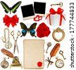 collection of various objects for scrapbook. paper page, antique clock, key, postcard, photo frame, feather pen, inkwell, glasses, compass, scissors, flower, butterfly, red ribbon bow, gift box - stock