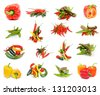 Collection of Various Peppers with Red and Yellow Bell Peppers, Chili Peppers, Red Habanero, Green Jalapeno and Yellow Santa Fee isolated on white background - stock photo