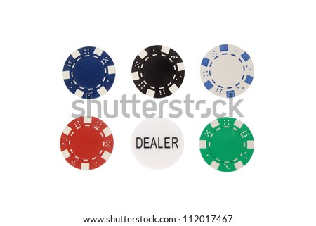 Collection of various poker chips on white background
