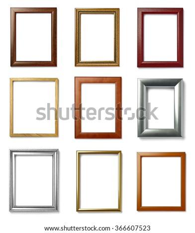 collection of  various vintage wood frame on white background
