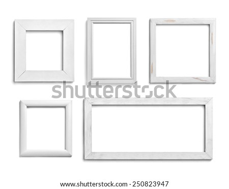 collection of various white wood frames on white background each one is shot separately - White Wood Picture Frames