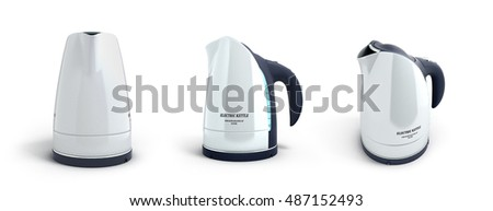 collection of white electric kettle with a long handle in front 3d render on white background
