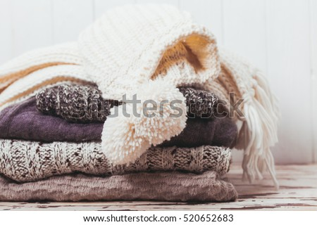 Collection of woolen clothes