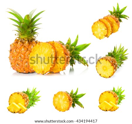 Collection pineapple with slices on white background.
