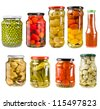 collection set of canned vegetables in glass jars  isolated on white background - stock photo