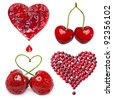 collection set of fresh fruit berries card in a shape of heart isolated on white background - stock photo